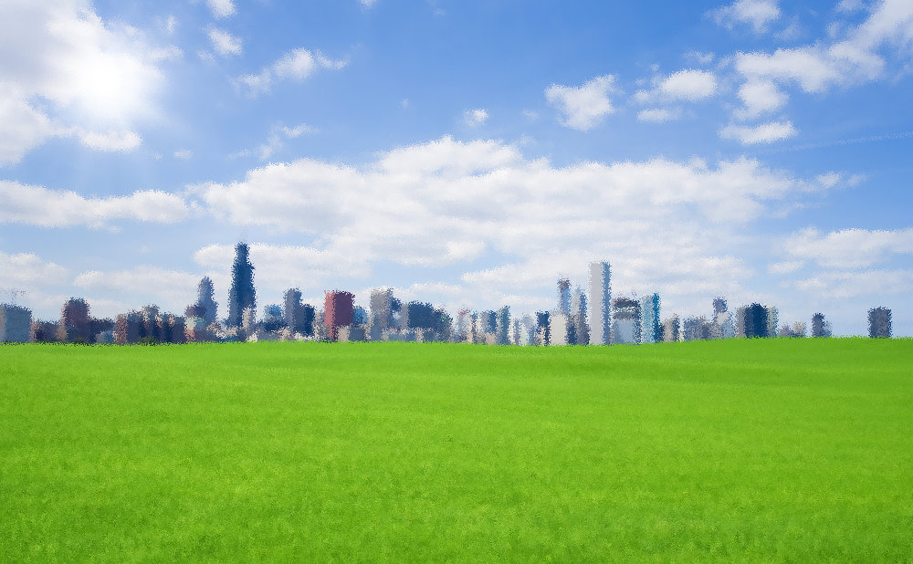 City Skyline Green Field